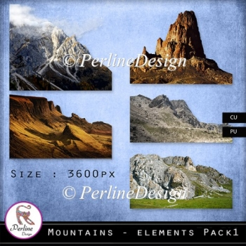 Five cropped mountains to create papers or use as elements