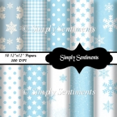 "10 12""x12"" Digital Winter Papers"