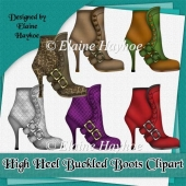 High Heel Buckle Boots Clipart