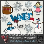 Welcome Winter! - Winter themed - CU clipart