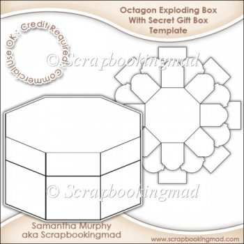 ... Craft Templates :: Exploding Box With Secret Gift Box Template CU OK
