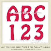 Blue, White & Red Hobo Style Alphas & Numbers
