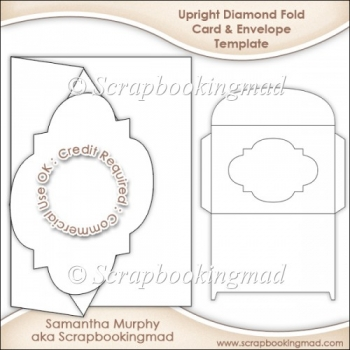 Upright Diamond Fold Card & Envelope Template