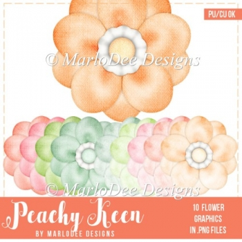 Peachy Keen Pretty Flower Graphics
