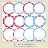 July 4th Round Labels by MarloDee Designs