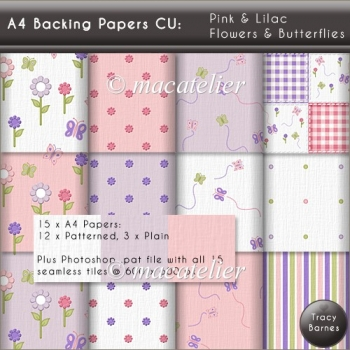 A4 Backing Papers: Pink & Lilac Flowers & Butterflies