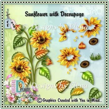 Sunflower 2 Template with Decoupage