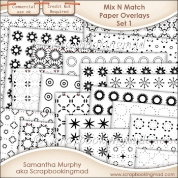 Mix N Match Paper Overlay Set 1 - PNG FILES & .PAT File - CU OK