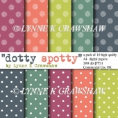 """DOTTY SPOTTY"" high quality 10 sheet A4 digital paper pack CUOK!"