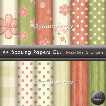 A4 Backing Paper: Peaches & Green