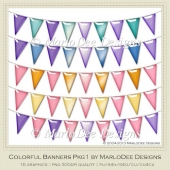 Colorful Banners Package 1 Graphics by MarloDee Designs