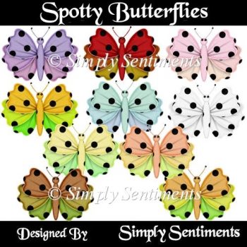 10 Digital Spotty Butterflies