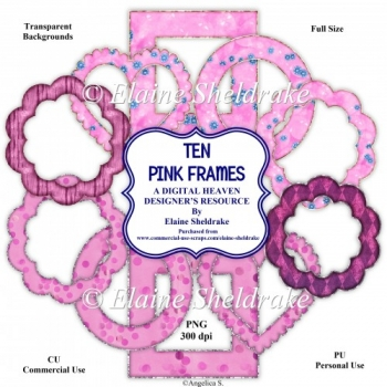 Ten PinkFrames - Designer Resource For Commercial Use - CU