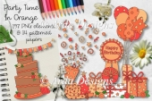 Party Time In Orange CU Clipart & Paper