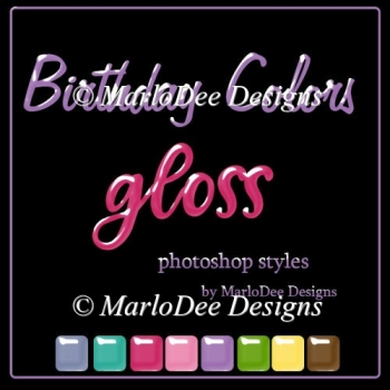 Birthday Colors Gloss Photoshop Styles by MarloDee Designs