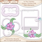 In The Garden Frame Clusters Pink PNG Elements