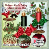 Christmas Candle Setting (Classic Red and Green)