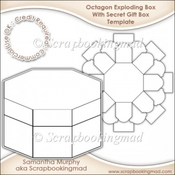 Exploding Box With Secret Gift Box Template CU OK