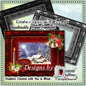 Christmas Card Topper and Recolorable Frame Template