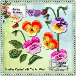 Pansy Decoupage Flowers and Leaves