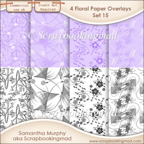 Floral Paper Overlays - Set 15 - PNG FILES - CU OK