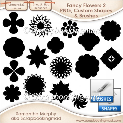 Fancy Flowers 2 - PNG - Custom Shapes .CSH - Brushes .ABR