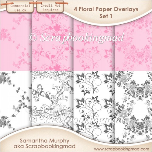 Floral Paper Overlays - Set 1 - PNG FILES - CU OK - Click Image to Close