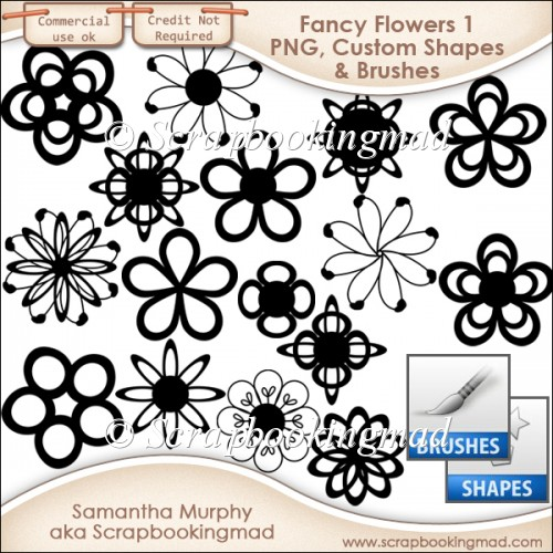 Fancy Flowers 1 - PNG - Custom Shapes .CSH - Brushes .ABR