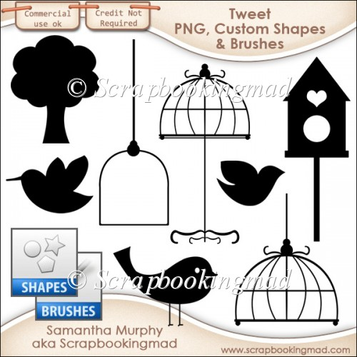 Tweet Templates - PNG - Custom Shapes .CSH - Brushes .ABR