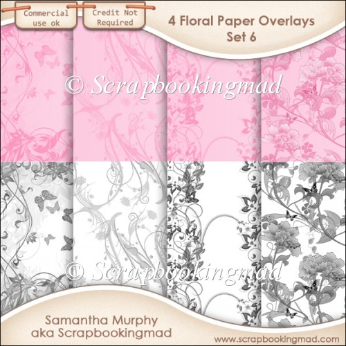 Floral Paper Overlays - Set 6 - PNG FILES - CU OK - Click Image to Close