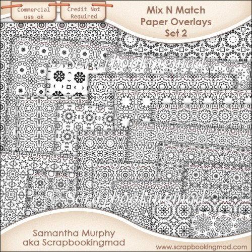 Mix N Match Paper Overlay Set 2 - PNG FILES & .PAT File - CU OK - Click Image to Close