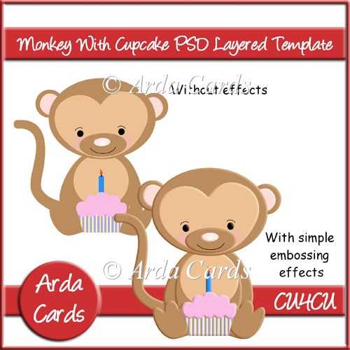 Monkey With Cupcake PSD Layered Template