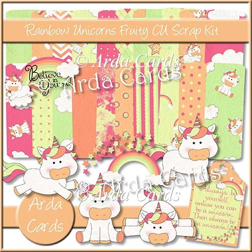 Rainbow Unicorns Fruity CU Scrap Kit