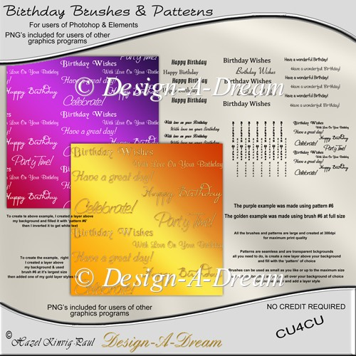 Birthday Brushes & Patterns