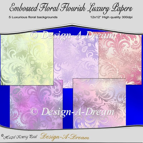 Embossed Floral Flourish Luxury Papers