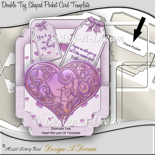 Double Tag Shaped Pocket Card Template