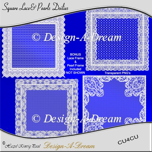 Square Lace & Pearls Doilies