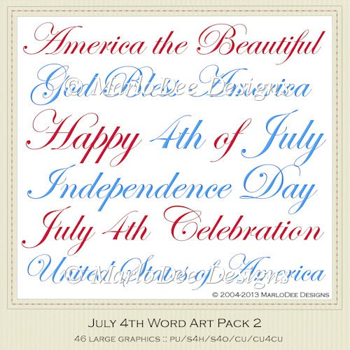July 4th Word Art Package 2 by MarloDee Designs