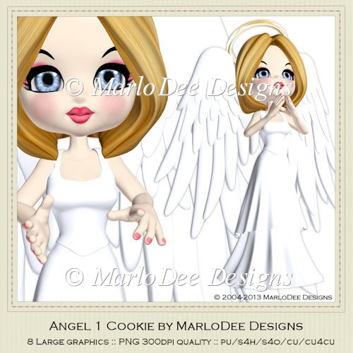 Angel 1 Cookie Poser Graphics by MarloDee Designs