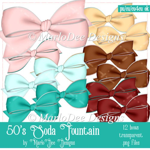 1950's Soda Fountain Colored Bow Graphics by MarloDee Designs