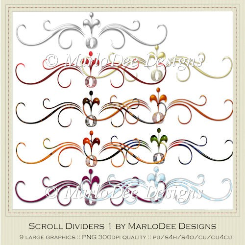 Elegant Scroll Divider Graphics Pkg 1 by MarloDee Designs