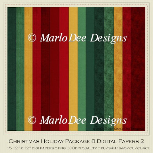 Christmas Holiday Package 8 Digital Papers 2