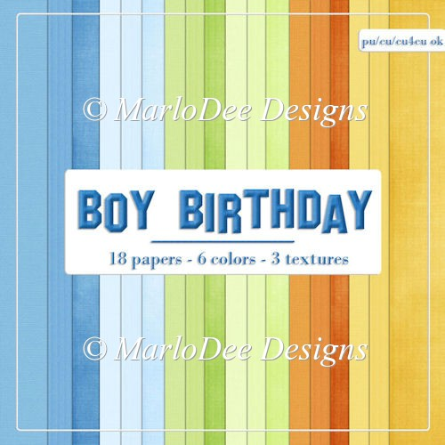 Boy Birthday Colors Card Stock Digital Papers by Marlo