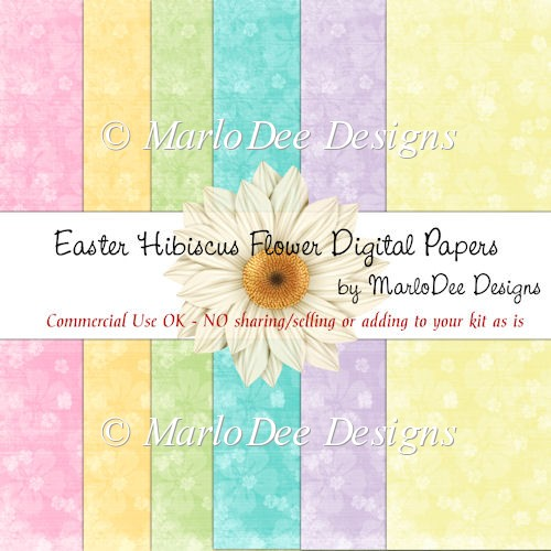 Easter Colors Hibiscus Flower Digital Papers A4 Size