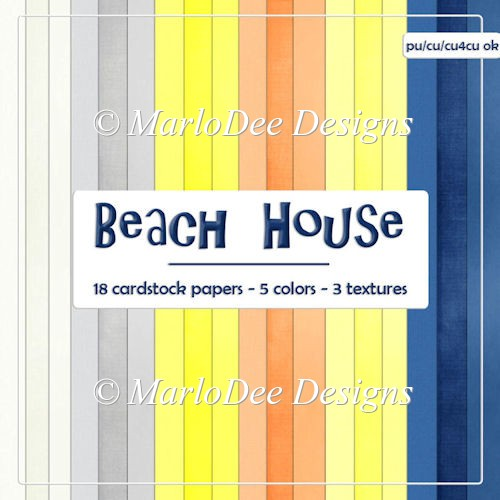 Beach House Digital Card Stock Papers {A4 size}