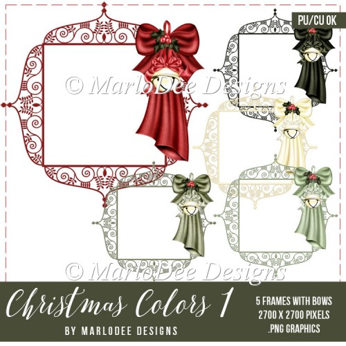 Christmas Frame with Bow & Bell Graphics | Christmas Colors 1 - Click Image to Close