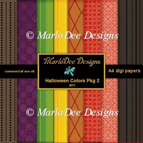 Halloween Colors A4 size Digital Papers Package 2
