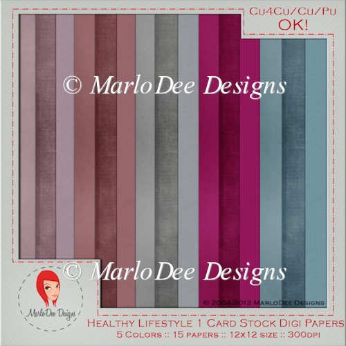 Healthy Lifestyle Card Stock Digital Papers