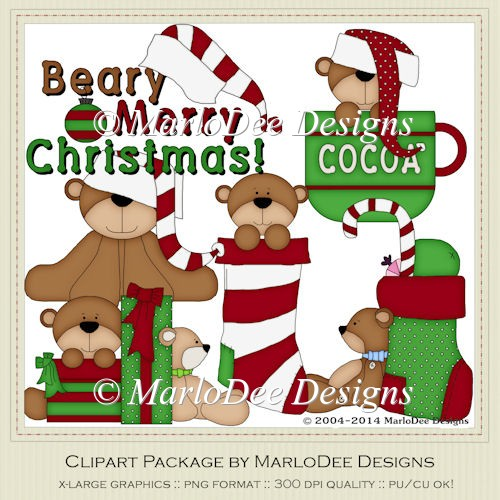 Beary Merry Christmas Clip Art by MarloDee Designs