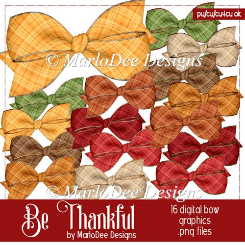 Be Thankful Digital Bow Graphics by MarloDee Designs